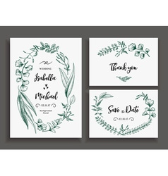 Set of wedding cards with leaves herbs and flowers vector image