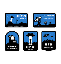 set ufology and space searches emblem logo vector image