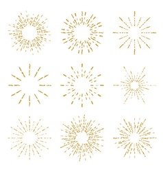 set vintage handdrawn sunbursts vector image