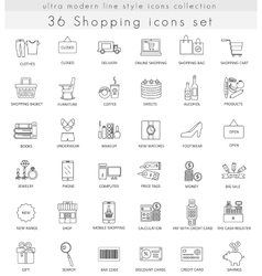 shopping ultra modern outline line icons vector image vector image