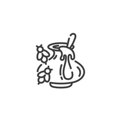 simple line art icon clay pot with honey and vector image
