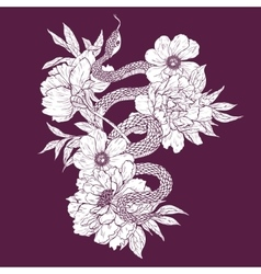 Snake and flowers vector image