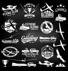 Soaring club retro badges and design elements vector