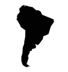 South america black silhouette contour map of vector