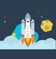 Space shuttle soars into orbit earth bright vector