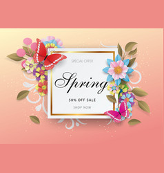 spring sale background with colorful flower and vector image
