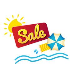 sticker summer sale beach umbrella and waves vector image