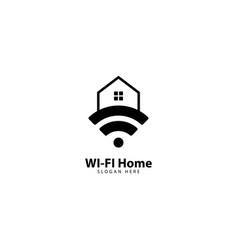 Wifi home internet connection logo design vector