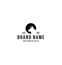 Wolf design logo line art vector