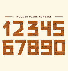 Wood number set wooden plank numeric font held vector