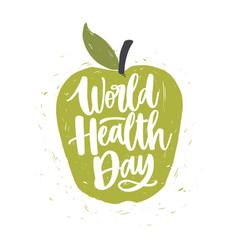 World health day lettering handwritten vector