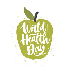 World health day lettering handwritten with vector