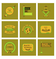 Assembly flat icons back to school pencil globe vector