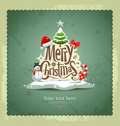 Merry Christmas Vintage design vector image vector image