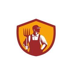 Organic Farmer Pitchfork Crest Retro vector image