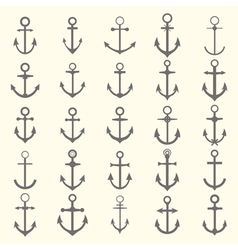 Big set of anchors Anchor symbols or logo template vector image