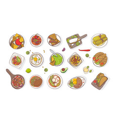 collection of various traditional mexican meals - vector image