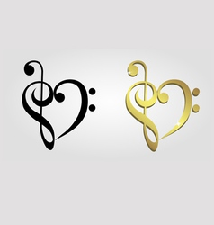 Heart formed of treble clef and bass clef vector image vector image