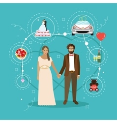 Just married couple with wedding attributes vector