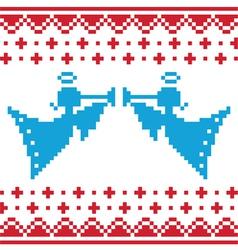 Knitted christmas angles card on seamless vector image