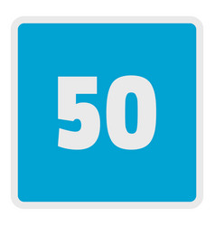 minimum speed fifty limit icon flat style vector image vector image