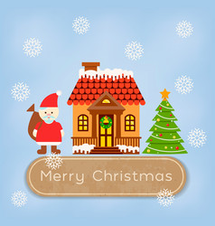 santa claus and reindeer near the snowcovered vector image vector image