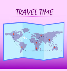 travel timefolded world map with route on pink vector image vector image