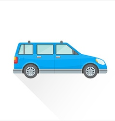 flat blue wagon car body style icon vector image
