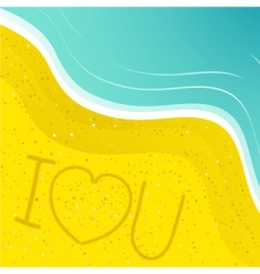 love message in the sand vector image vector image