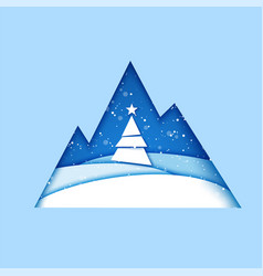 merry christmas greeting card origami winter vector image vector image