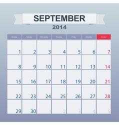 September 2014-planning calendar vector image vector image
