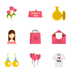 Day of mom icon set flat style vector