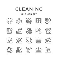 set line icons of cleaning vector image