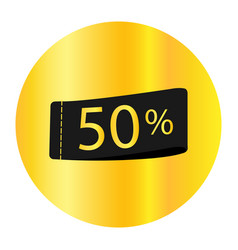 50 off discount sticker sale golden tag isolated vector image