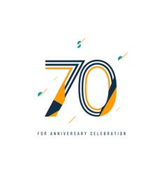 70 year retro anniversary celebration template vector