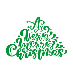 a very merry christmas calligraphy lettering text vector image