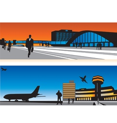 air terminal and railway station vector image