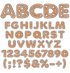 alphabet letters numbers signs of gingerbread vector image
