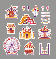 amusement park flat elements sticker with vector image
