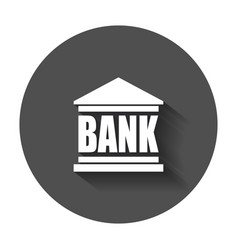 Bank building icon in flat style museum with long vector