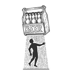 beer kidnaps human sketch engraving vector image
