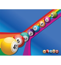 Bingo balls rolling down a curved rainbow vector image