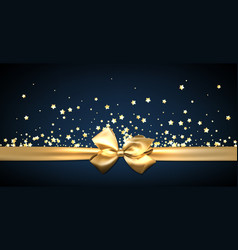 Blue festive banner with golden bow vector