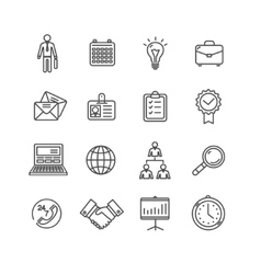 Business outline black icons set vector