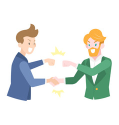 businessmen doing fistbump to each other vector image