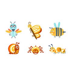 Cartoon insects with spider and butterfly vector