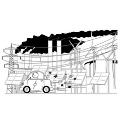 cartoon of man riding electric car with vector image