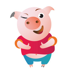 Cartoon pig approves with thumb up and winks vector