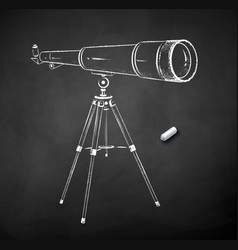 chalk drawn telescope vector image