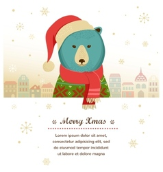 Christmas background with hipster bear vector